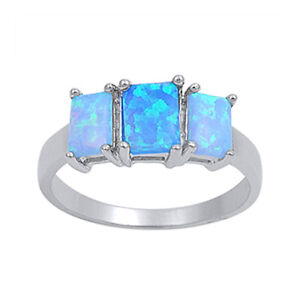 Women 7mm 925 Silver Square Opal Princess Pink CZ 3stone Vintage Style Ring Band