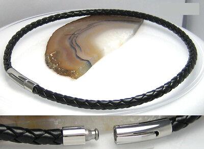 Ehrlich Leder Halsband Edelstahl 38 Bis 54cm Schwarz Geflochten 5mm Top Kunstleder Herr
