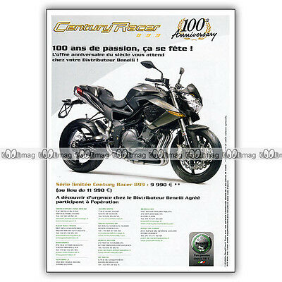 Pub Benelli Century Racer 899 - Original Advert / Publicité Moto 2011 Zacht En Antislippery