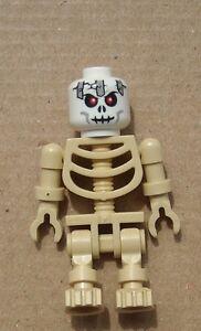 Lego 4x Beige Skelette Weißer Kopf Rote Augen Tan Skeleton White