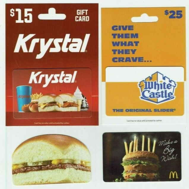 HAMBURGER Gift Card Lot of 4- White Castle, Krystal Die-Cut, McDonalds -No Value