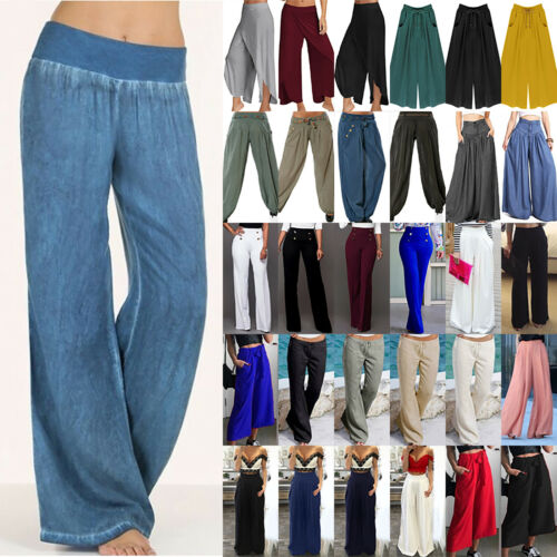 Plus Size Women High Waisted Wide Leg Flared Pants Casual Palazzo Loose Trousers