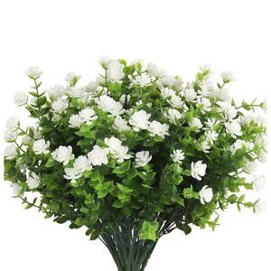 8 Paquetes de Plantas de Flores Artificiales Arbustos Verdes Falsos para Dera De