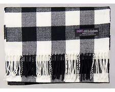 100% Cashmere Scarf Black White Tartan Check Plaid SCOTLAND Wool Women R92 Wrap
