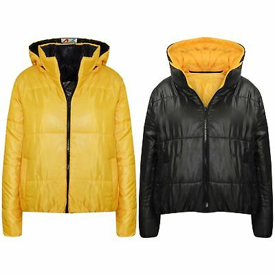 60acee01221 Details about Girls Jackets Kids Mustard Reversible Cropped Hooded Padded Puffer  Jacket Coats