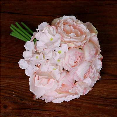 Peony Hydrangeas Roses Silk Flowers Bouquet Party Wedding Bouquets Home Decor