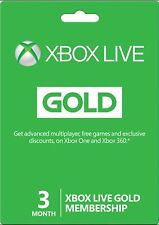 Xbox Live 3 Months Gold Membership Card Microsoft Subscription 360/One worldwide