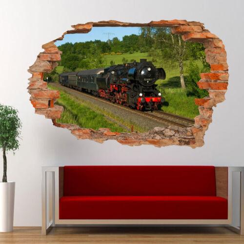 Tren de vapor de ferrocarril de la naturaleza 3D Pegatinas de Pared Mural de Arte Decoración Hogar Sala Oficina UG5