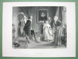 YOUNG-LADY-amp-Cavalier-Kiss-under-Mistletoe-120-Years-Old-Print-Engraving