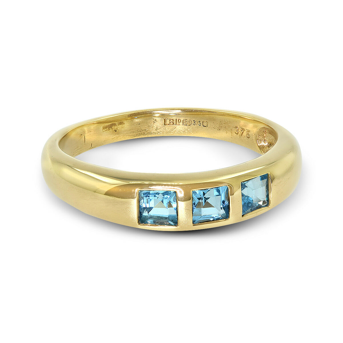 9ct Yellow gold 3 Stone bluee Topaz Ring - Size O (00788)