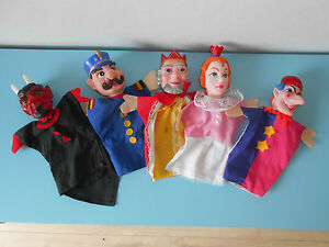 16-8-28-2-Lot-de-5-marionnettes-guignol-theatre-Reine-Diable-Roi