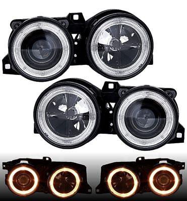 RHD LHD Headlight Pair Angel Eyes Clear Chrome H1 H1 For BMW 3 Series E30 82-94