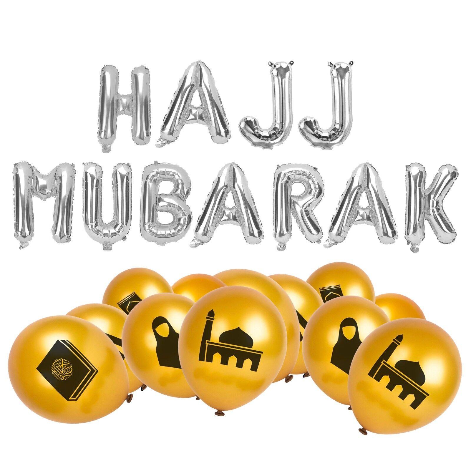 Hajj Mubarak Islamic Foil Letters + 20 Symbol Balloons - Eid Mecca Pilgrimage