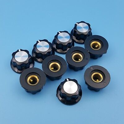 10Pcs 16mm Top Rotary Control Turning Potentiometer Knob For Shaft Hole Dia 6mm