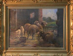 Carl-Schaller-Weimar-Oil-Painting-Sheep-Hutch-Cover