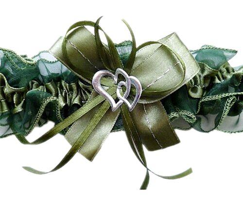 XXL 80cm Strumpfband Braut grün olive mit Schleife Herzchen Silbernaht Hochzeit