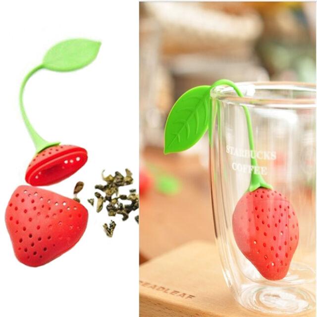 New Silicon Strawberry Design Tea Leaf Strainer Herbal Spice Infuser Tea Filter