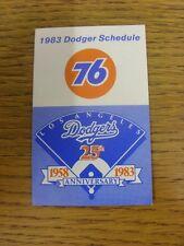 1983 scheda di impianti: Baseball-Los Angeles Dodgers (Pieghevole Stile). eventuali difetti W