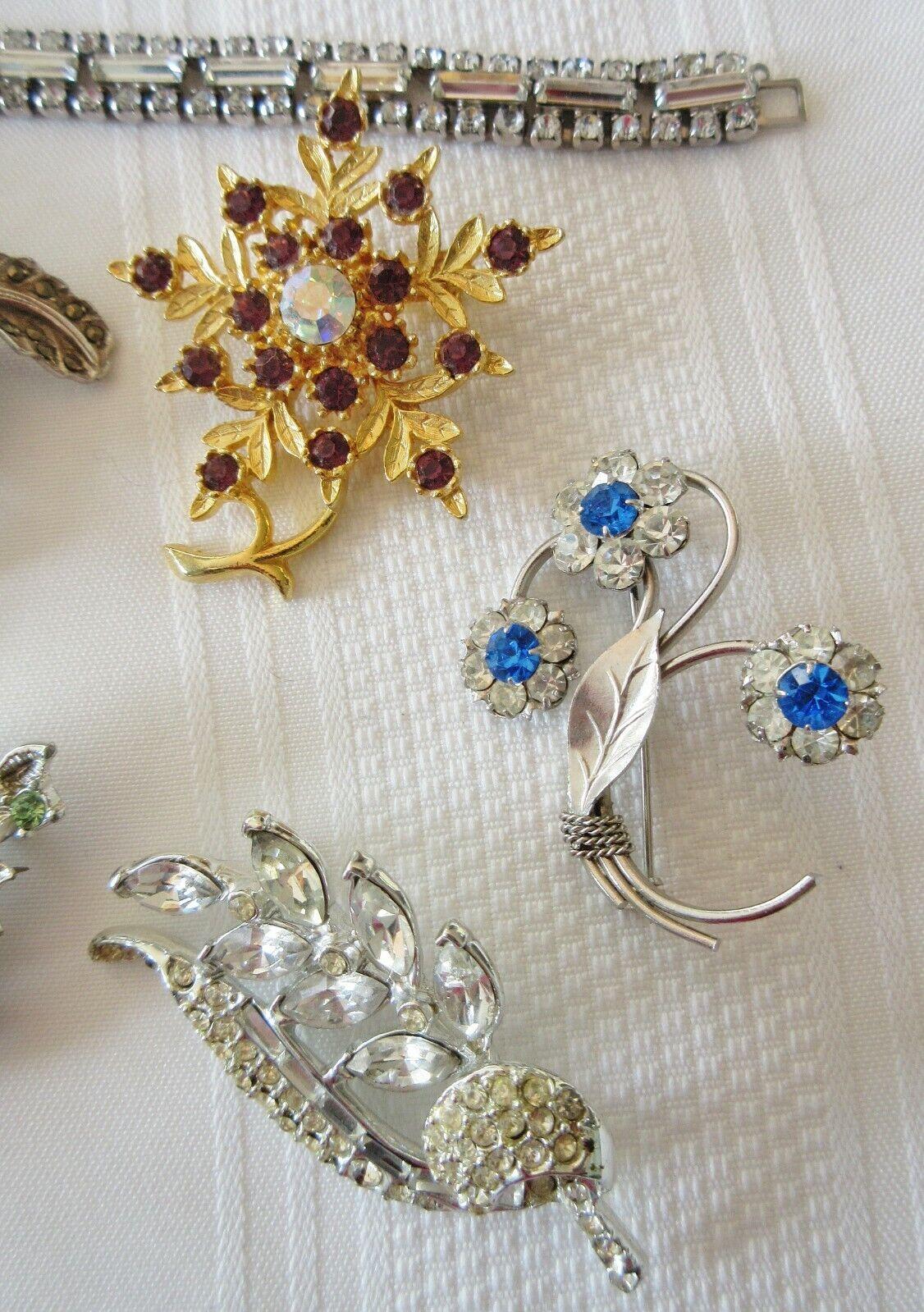 Lot Vintage Costume Jewelry Rhinestone Marcasite … - image 3