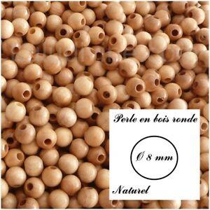 lot de 50 perles Vert clair Perle en bois ronde Ø 8 mm