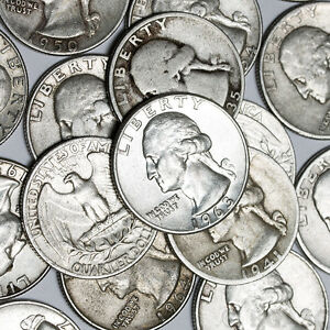 $10 Face Value ROLL WASHINGTON QUARTERS  90% Silver 40 Forty Coins