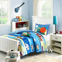 Trucks Construction Blue Red Comforter Airplane Boys Kids Comforter Set Twin