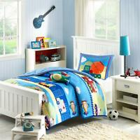 Trucks Construction Blue Red Comforter Airplane Boys Kids Comforter Set Twin
