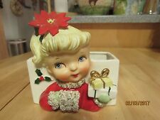 VINTAGE 1950'S NAPCO CHRISTMAS GIRL HEAD VASE PLANTER CHRISTMAS CARD HOLDER