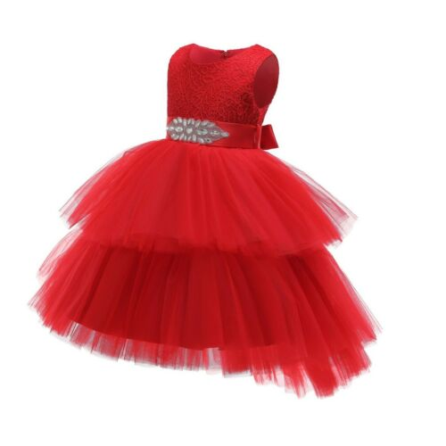 Flower Girl Princess Pageant Party Christmas Wedding formal Red lace tutu dress