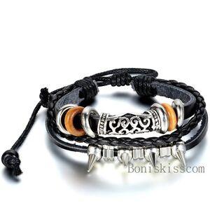 Rivet-Spike-Women-Men-Surfer-Tribal-Wrap-Multilayer-Leather-Adjustable-Bracelet