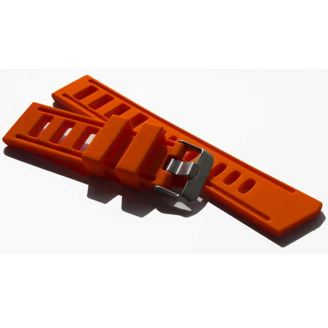 22mm Silicone Rubber watch strap band black seiko diver mens monster ORANGE