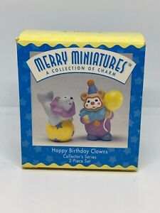 Happy-Birthday-Clowns-1996-Merry-Miniatures-2-Piece-Hallmark-Figurine-Set-New