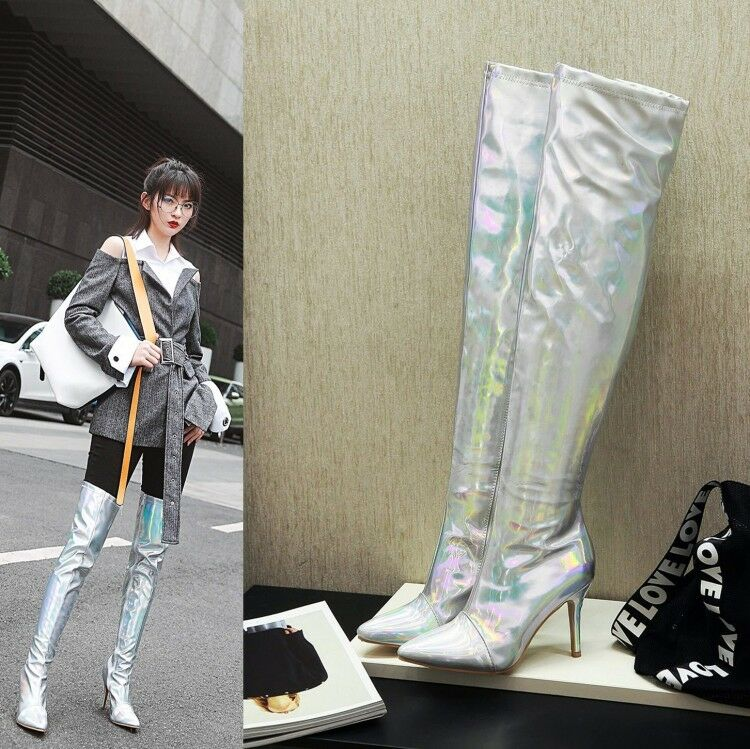 Womens New Sexy Metallic Shiny High Heel Over Knee Night Club Boots shoes Sea198