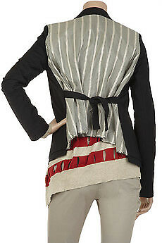 ALEXANDER WANG schwarz Runway Striped Long Sleeve Jacket Blazer Blouse Wool Silk