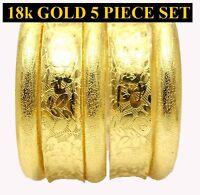 18k Gold Ladies Women's 5 Piece Set 8 Bangle Bracelet D178
