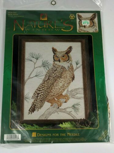 "NATURES WINDOW Designs for the Needle Owl Branch Cross Stitch Kit 5426 12/"" x 16/"""