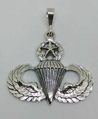 Sterlng Silver Army Airborne Paratrooper Master Jump Wing Pendant Charm