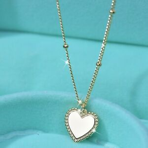 Yellow-gold-REAL-925-sterling-silver-love-heart-charm-pendant-chain-necklace