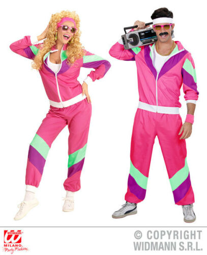 Womens Ladies 80S Pink Shell Suit 80s Shellsuit Fancy Dress Costume Outfit