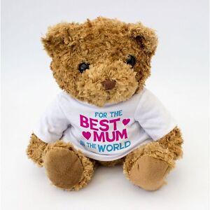 NEW-Best-Mum-In-The-World-Teddy-Bear-White-T-Shirt-Mothers-Mum-Mama-Gift
