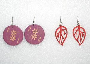 Ladies-Vintage-Dangle-Earrings-Lot-of-2-Wooden-Flowers-and-Leaf-Nature-Designs