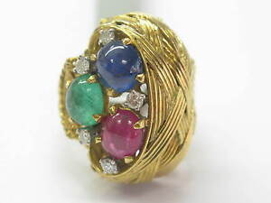 18K-Gem-Ruby-Sapphire-Emerald-Diamond-Solitaire-W-Accents-Jewelry-Ring-YG-3-55Ct