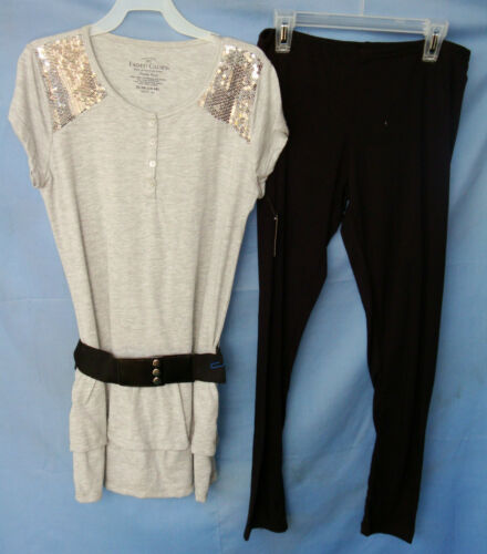 FADED GLORY S//S GRAY HEATHER Knit Top w//Sequins /& Leggings Set GIRLSIZES NWT