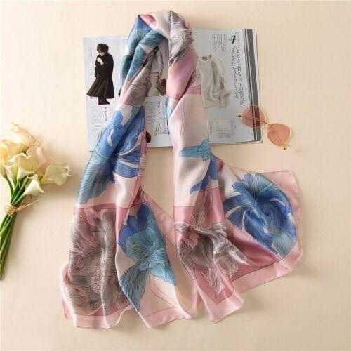 Belle bleu pâle et rose orchid design .180x90cm. 100/% silk scarf//wrap