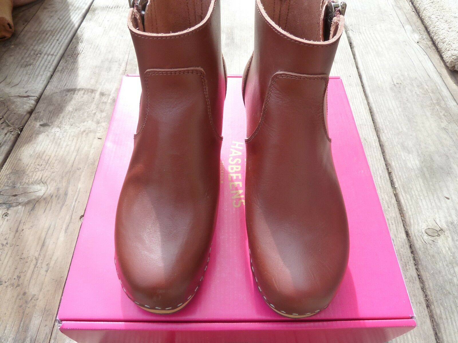 NEW Swedish Hasbeens Cognac Zip It Emy Emy Emy Ankle Boot  EU 36 US 6 a0cefa