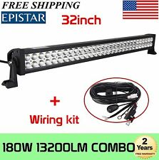32''in 180W LED Work Light Bar Offroad Work Lamp Spot Flood Combo 4WD+Wiring Kit