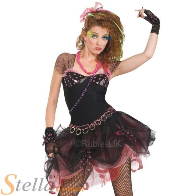 Ladies 80s Diva Costume Madonna Pop Star Fancy Dress Outfit Size 10