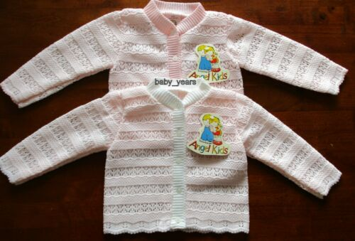 BABY GIRLS KNITTED CARDIGAN WHITE PINK LONG SLEEVED 6-12 12-18 18-24  MONTHS NEW