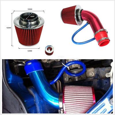 Car Auto Aluminum Air Intake Kit Pipe Diameter 3+Cold Air Intake Filter+Clamp
