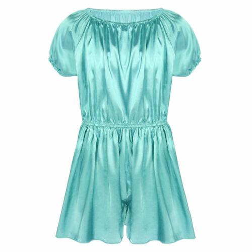 Sissy Mens Satin Robes Bathrobe Nightgown Silky Dress Pants Nightwear Pajamas